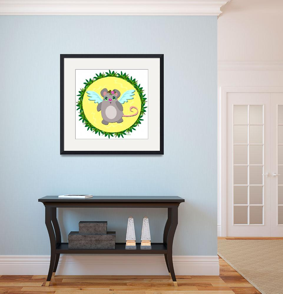 """""""Angel Mouse in Tropical Frame&quot  (2010) by theblueplanet"""