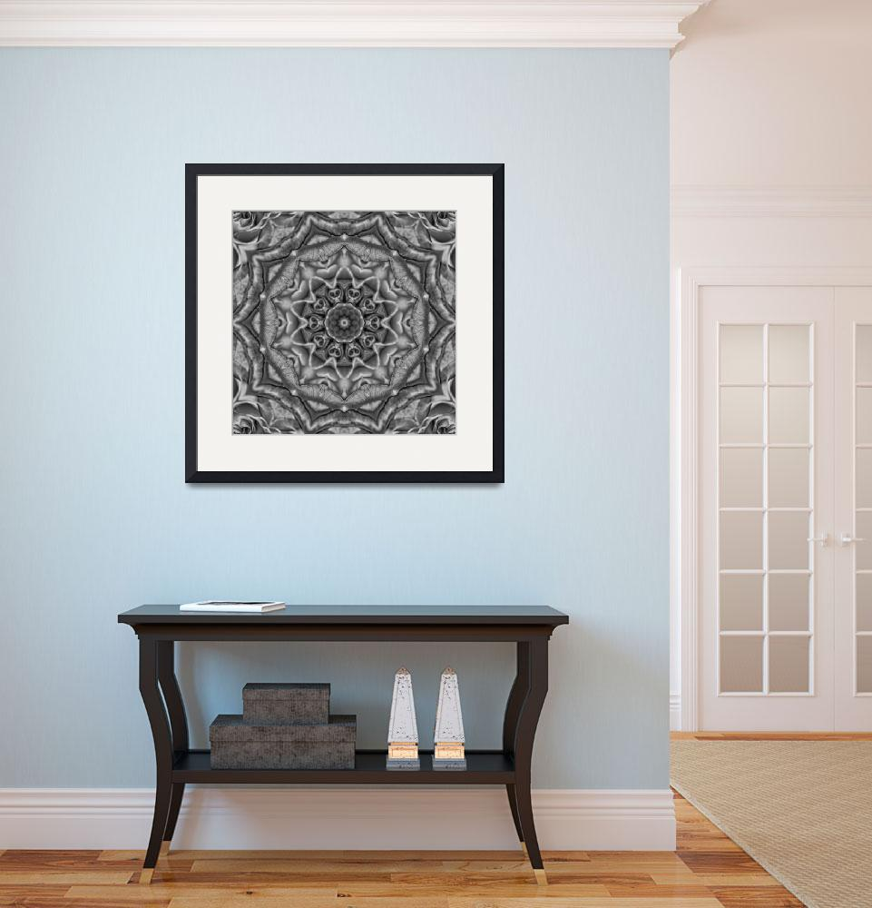"""""""Black and White Floral Tile 37 Framed&quot  by bloomingvinedesign"""