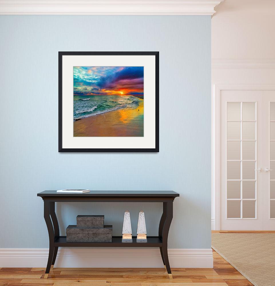 """Colorful Seascape-Swirling Multi Color Sunset Art&quot  (2014) by eszra"