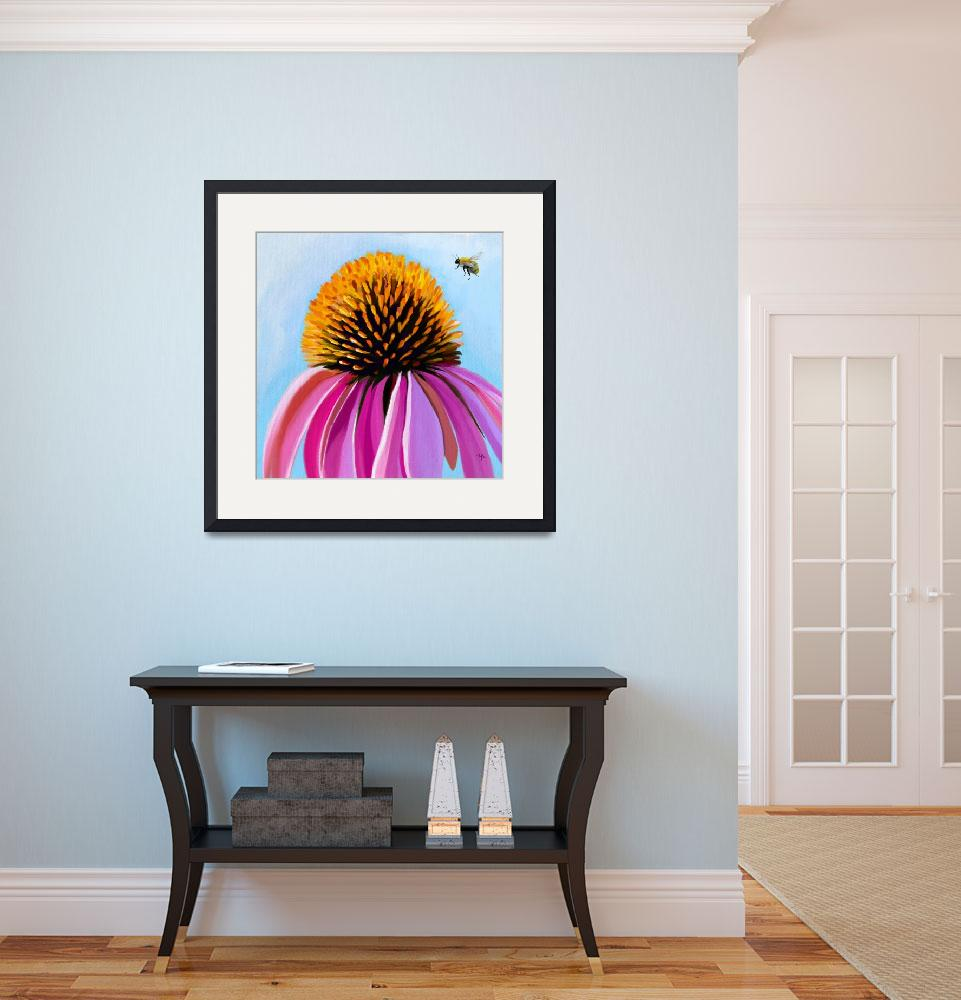 """bee-autiful coneflower""  (2019) by tammyleebradley"