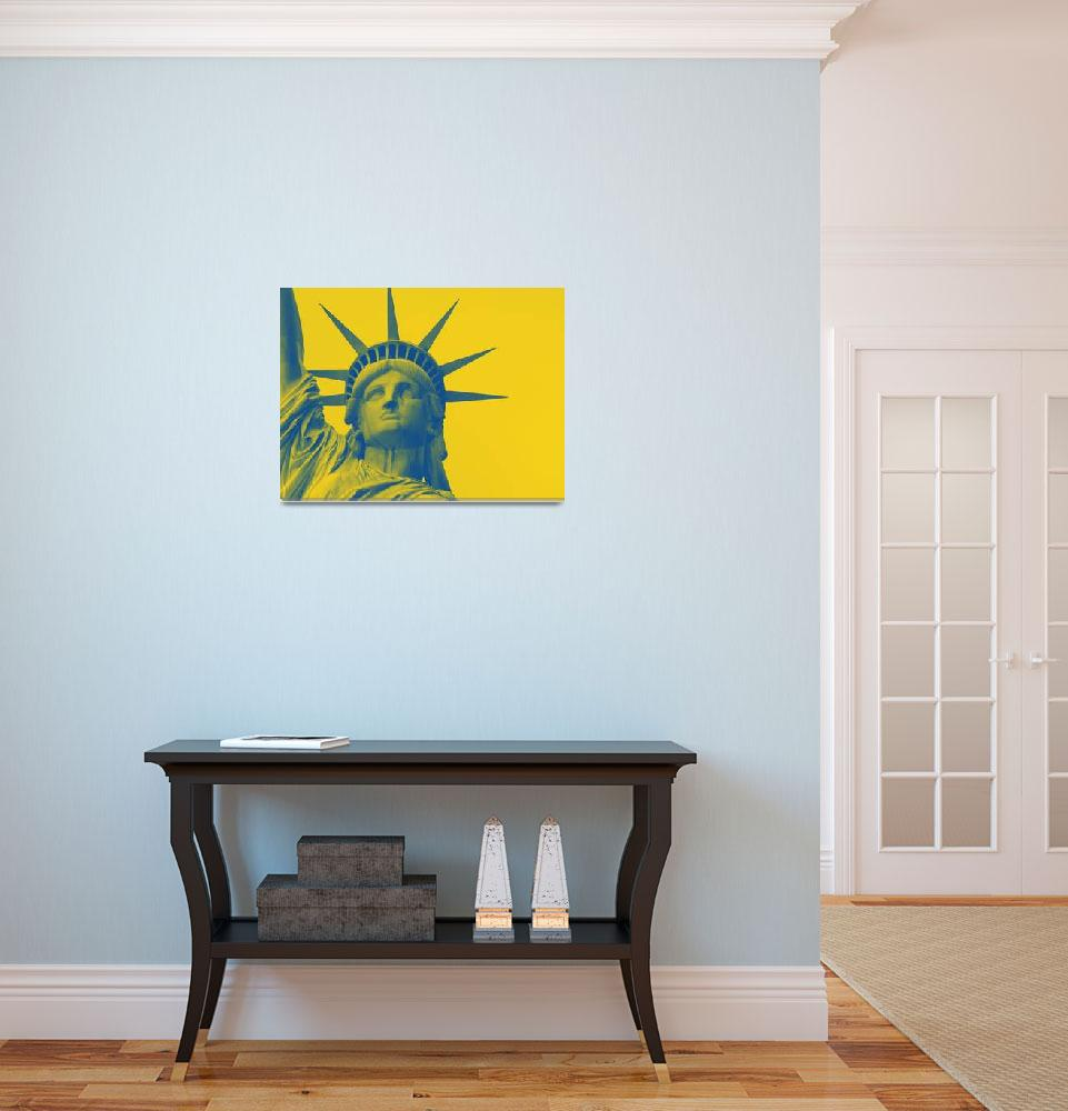 """""""statue of liberty in yellow""""  by motionage"""