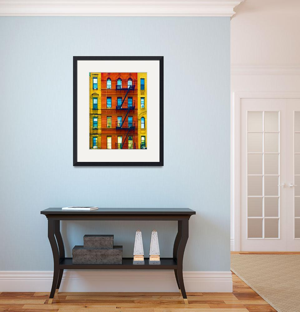 """""""New York City Apartment Building 2&quot  (2017) by RubinoFineArt"""