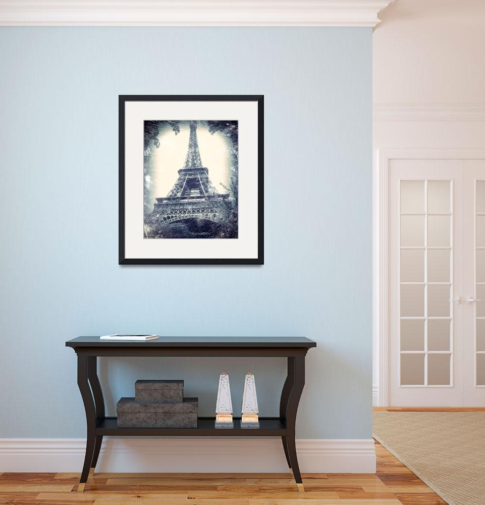 """Eiffel Tower, aged, distressed image.&quot  by Linde"