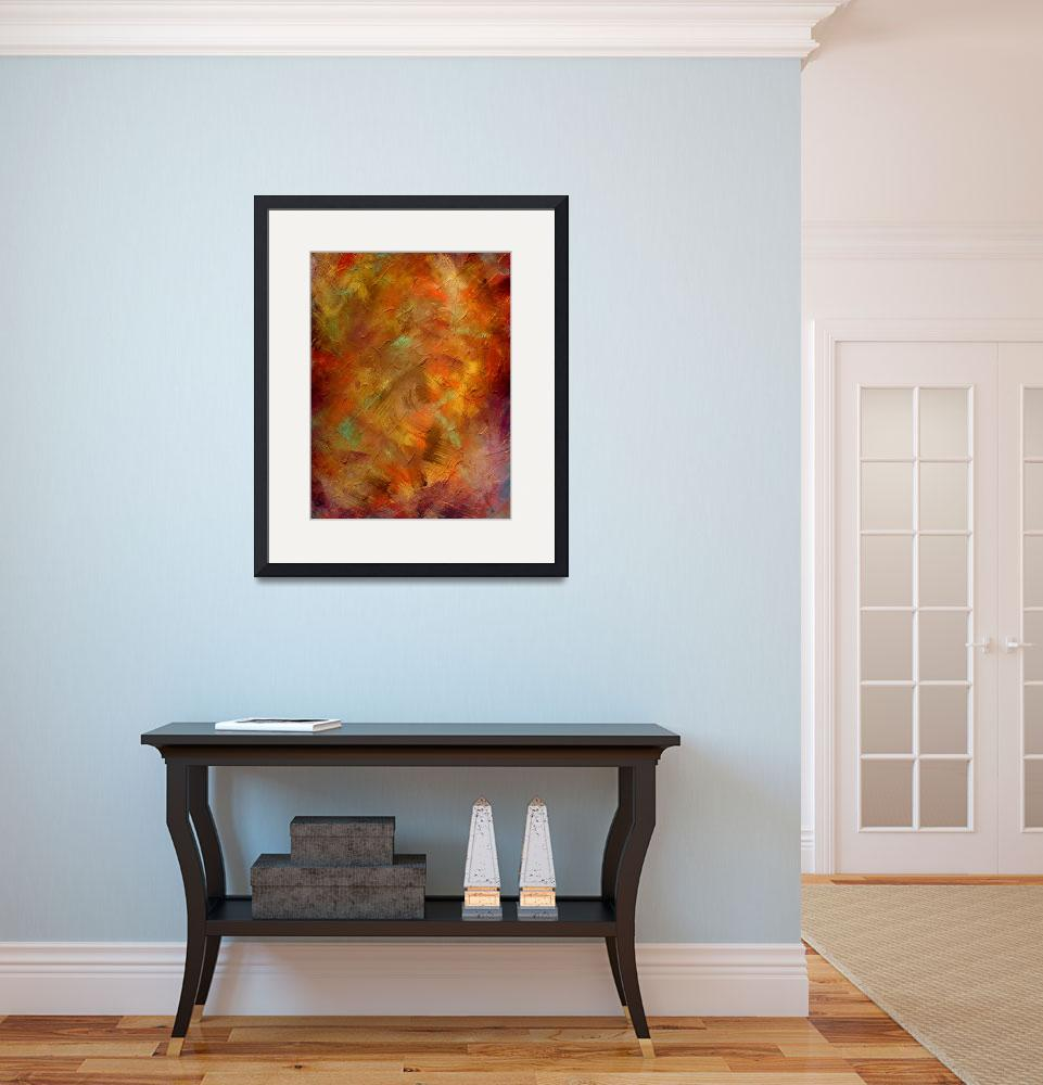 """""""Copper and Blue Textured Art&quot  (2014) by LizMoran"""
