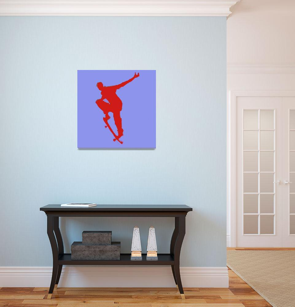 """""""Skateboarder 1 . blue red (c)&quot  (2014) by edmarion"""