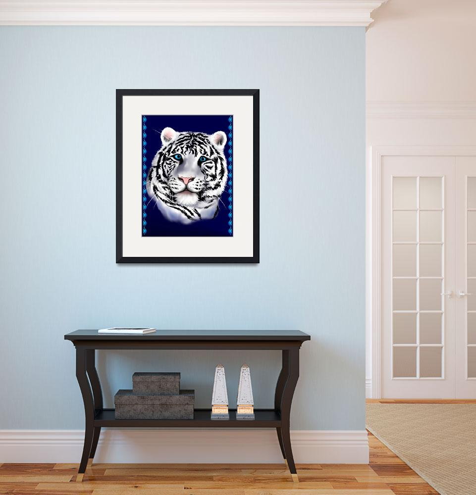 """""""White Tiger Face&quot  (2009) by Lotacats"""