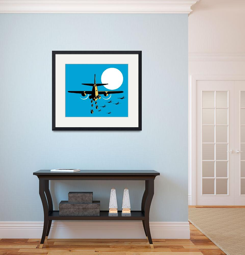 """World War Two Bomber Airplanes Drop Bomb Retro&quot  (2012) by patrimonio"