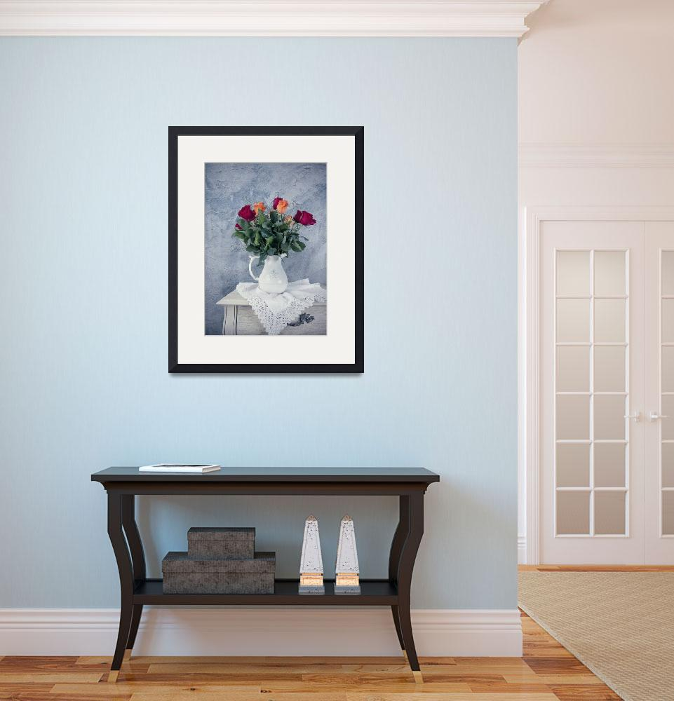 """""""rose flowers in old-fashioned flower pot&quot  (2015) by oksaprint"""
