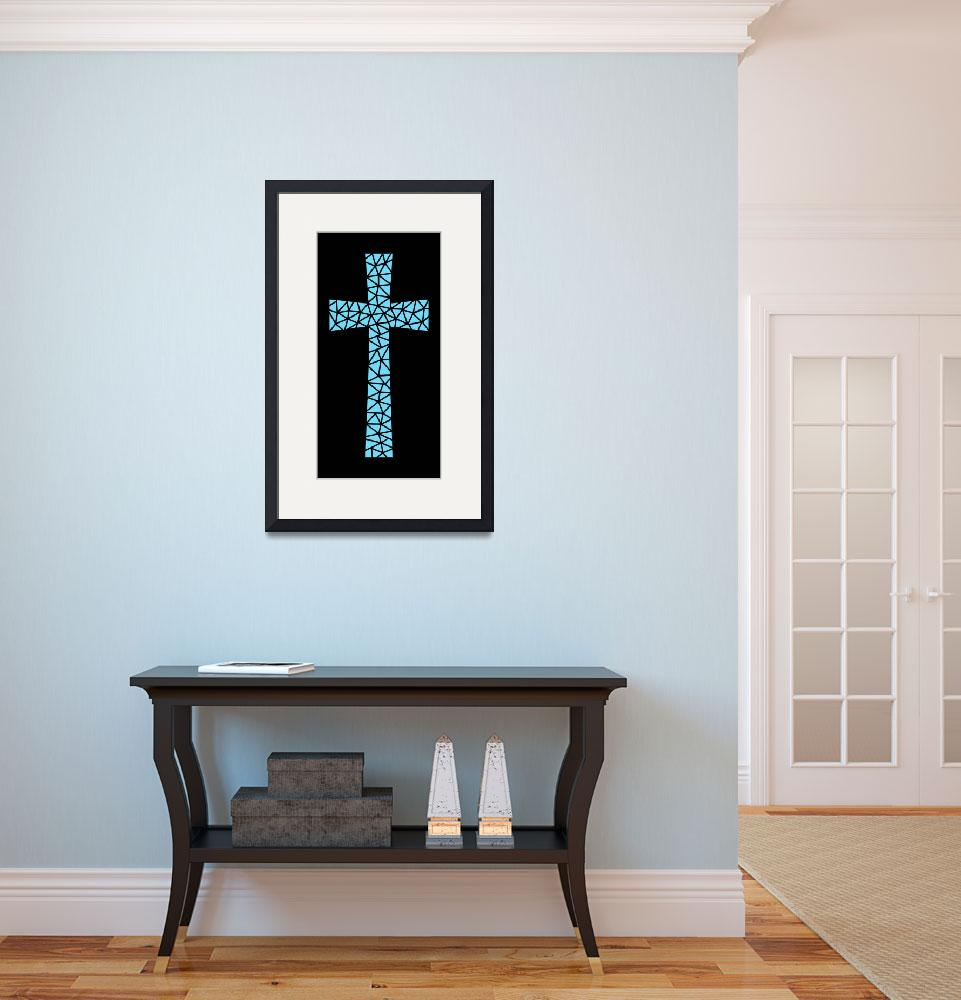 """""""Mosaic Cross in Turquoise&quot  (2016) by DMibus"""