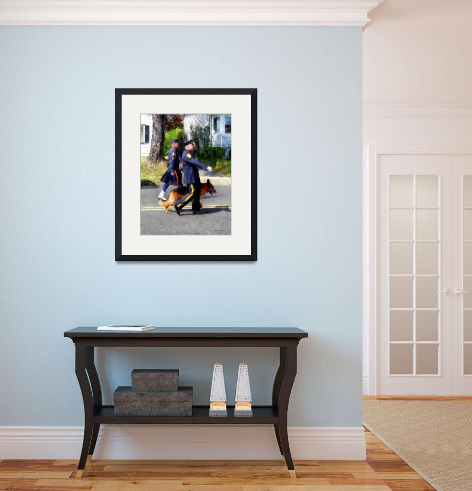 """""""Policeman and Police Dog in Parade&quot  by susansartgallery"""