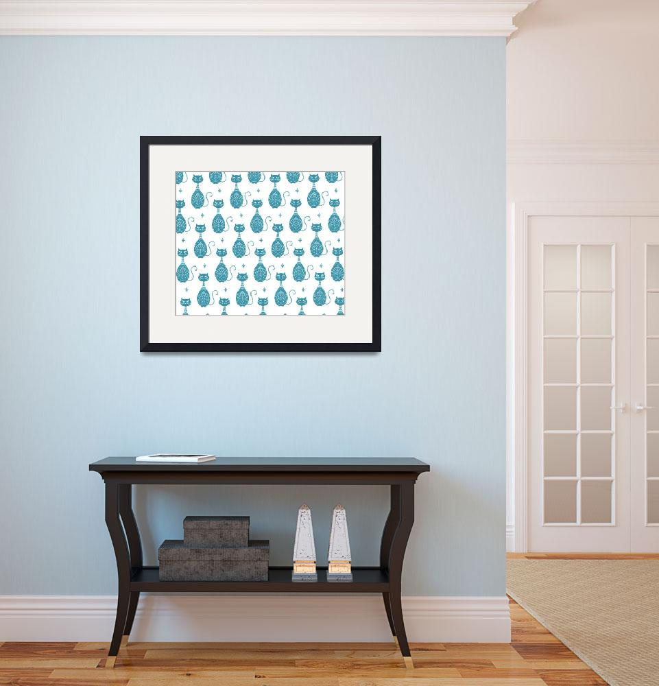 """""""Blue Cats Pattern&quot  (2015) by CristinaBianco"""