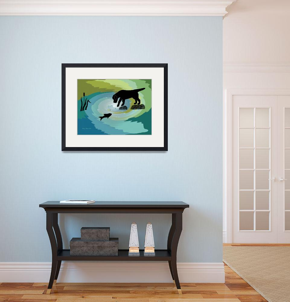 """Black Lab Dog Fishing Digital Painting&quot  (1994) by DogsandFlowers"