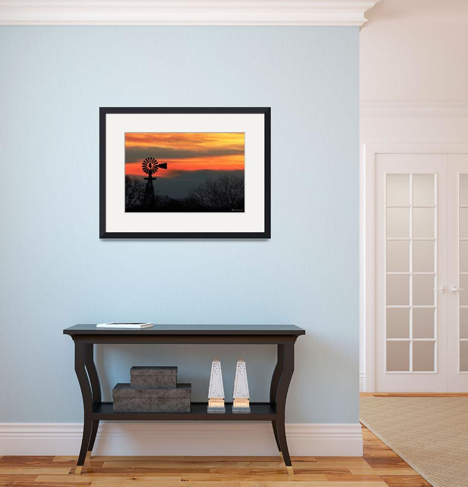 """""""Texas Hill Country Morning: Windmill Sunrise&quot  (2009) by PaulHuchton"""