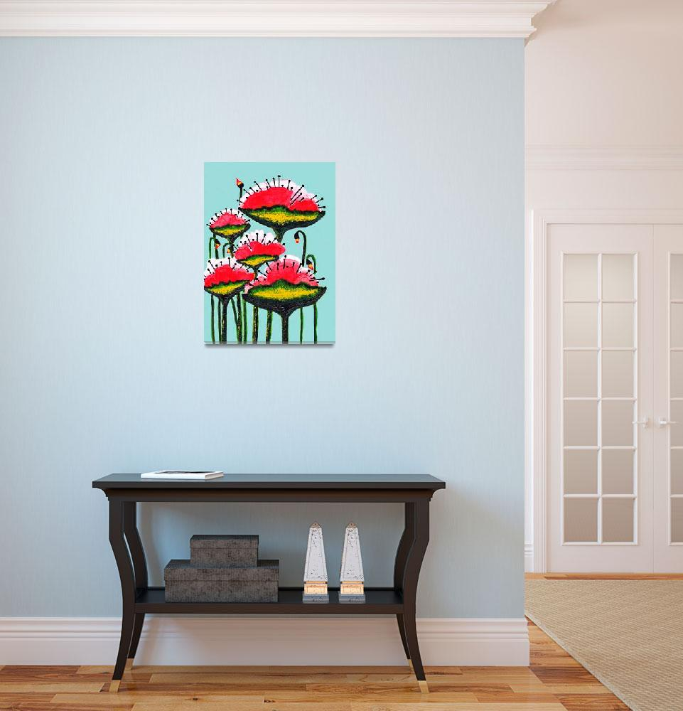 """""""Expressive Wild Red Pink and Yellow Poppies w4b""""  (2014) by Ricardos"""