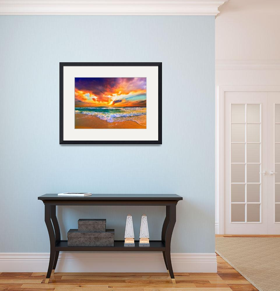 """Red Orange Purple Sunset Green Sea Waves Art Print&quot  (2013) by eszra"