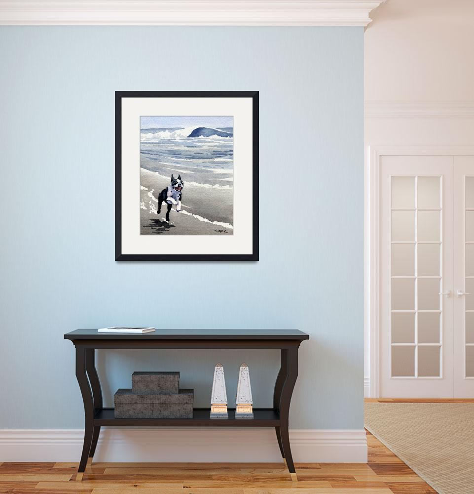 """""""Boston Terrier at the Beach Running&quot  (2015) by k9artgallery"""