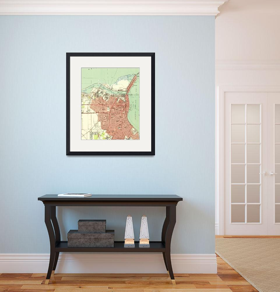 """Vintage Map of Corpus Christi Texas (1951)&quot  by Alleycatshirts"