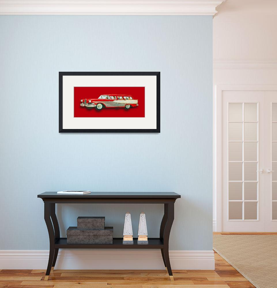 """""""Edsel Car Advertisement Wagon Red&quot  (2015) by RubinoFineArt"""