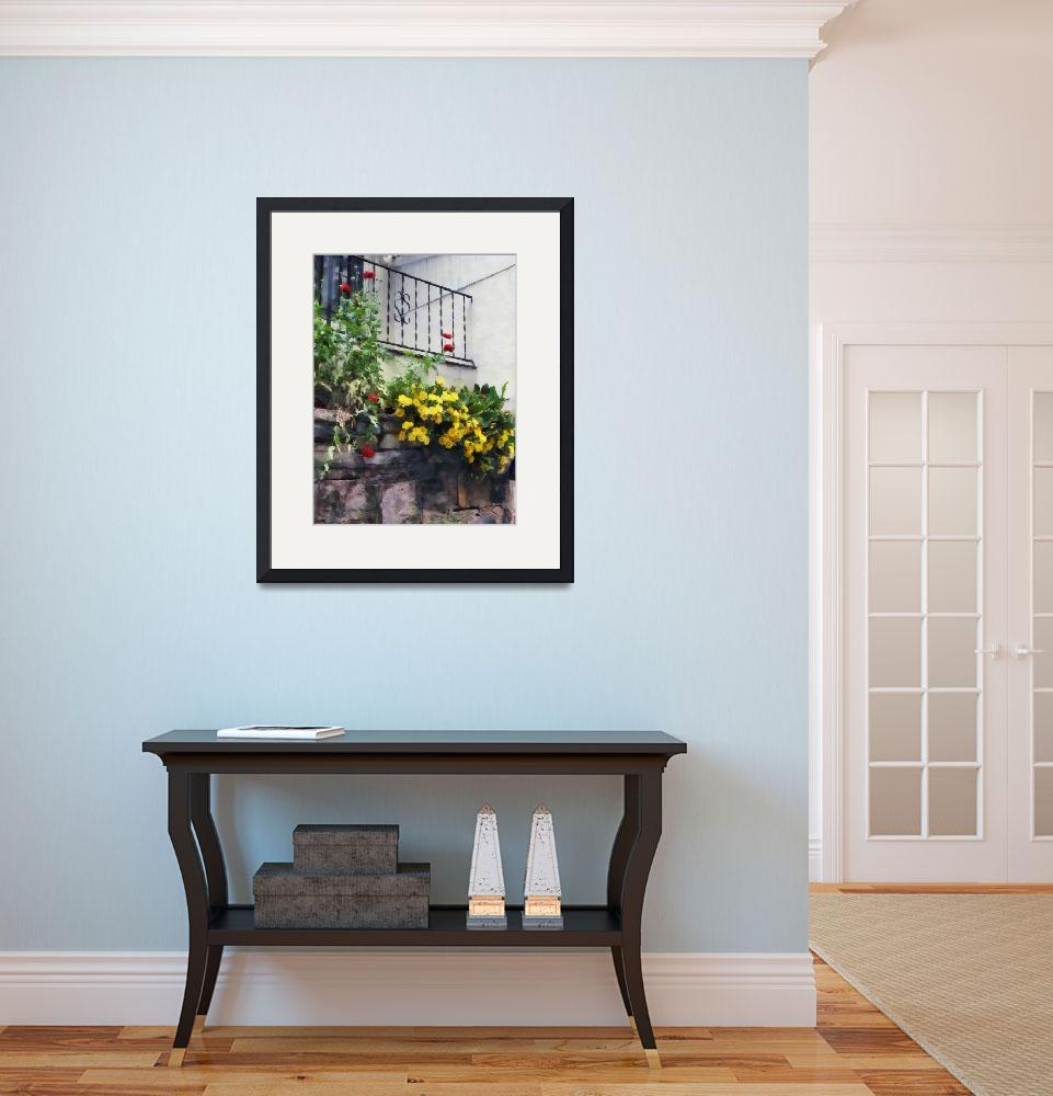 """""""Planter With Yellow Flowering Cactus&quot  by susansartgallery"""