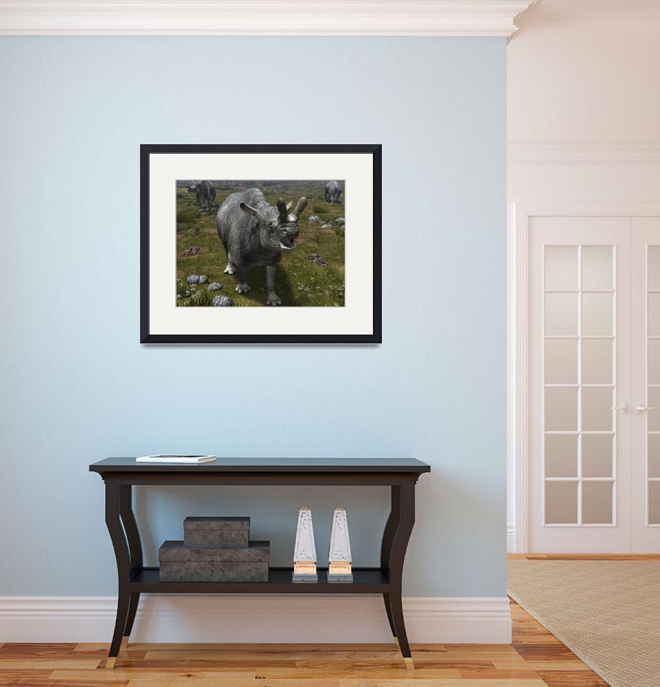 """A Brontotherium leaves his forest habitat in searc""  by stocktrekimages"