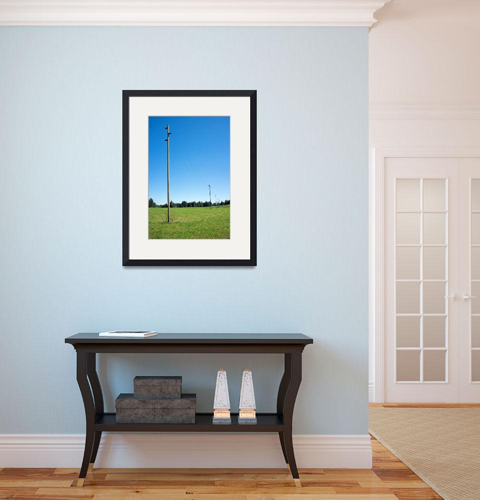 """""""Electricity piles on a green field&quot  (2015) by sascha"""
