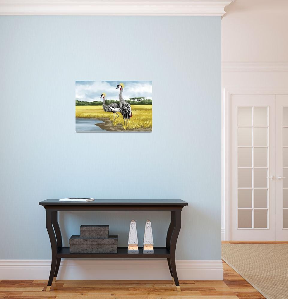 """Crowned Cranes""  by waterart"