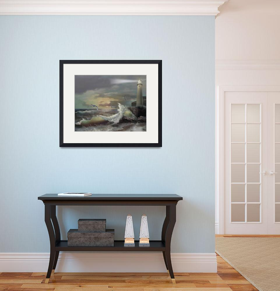 """""""Lighthouse and stormy Sea&quot  (2012) by Unique_designs"""