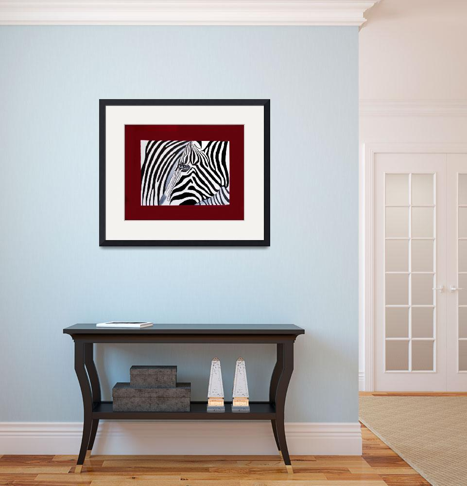 """""""Zebra abstract on red&quot  (2011) by Spangles44"""