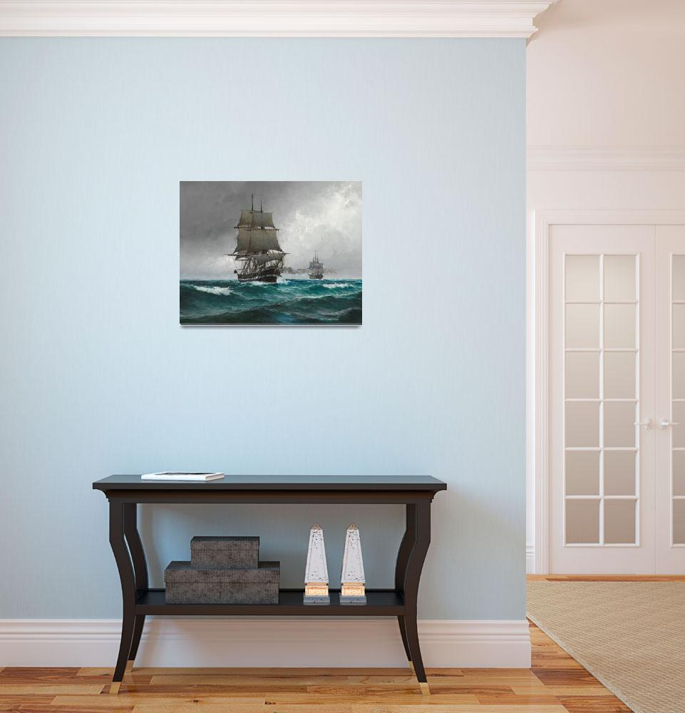 """""""Vintage Sailing in Rough Waters Painting (1876)&quot  by Alleycatshirts"""