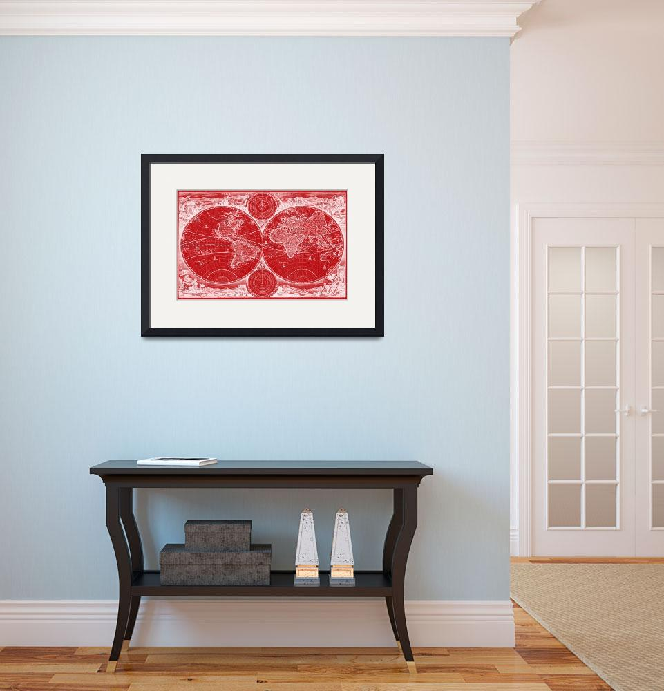 """""""World Map (1730) Red & White&quot  by Alleycatshirts"""