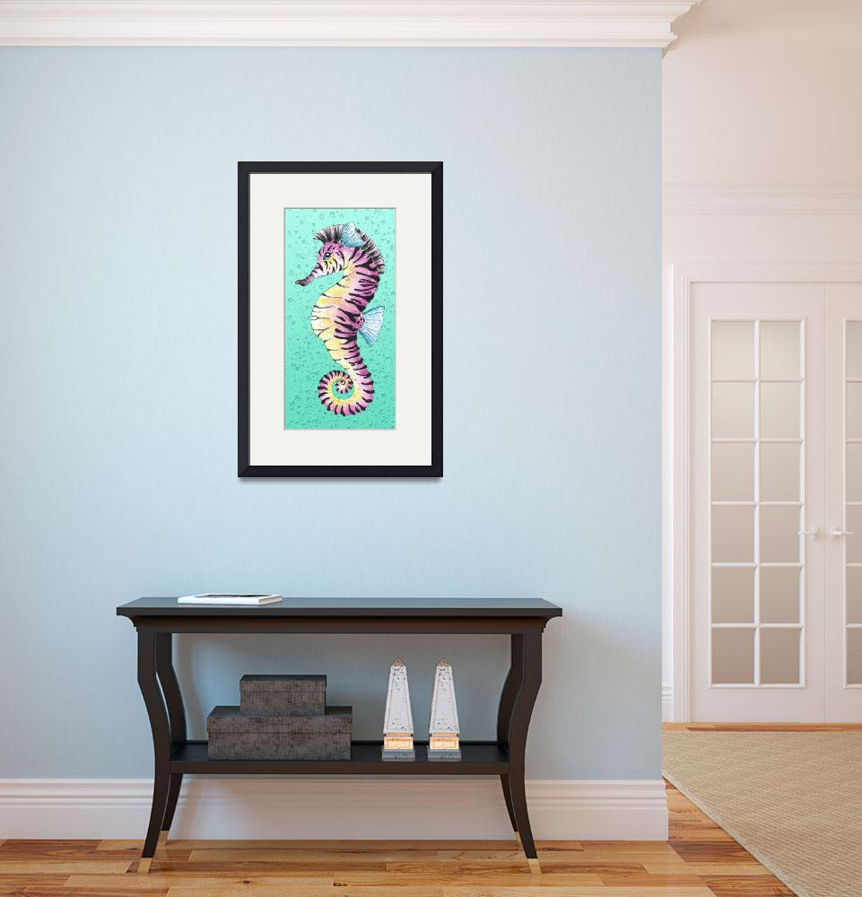 """""""Seahorse Turquoise&quot  (2014) by artdeep"""