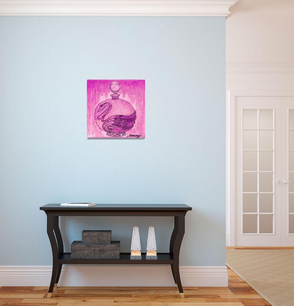 """BOTTLED FUCHSIA SWAN""  (2015) by JayneSomogy"