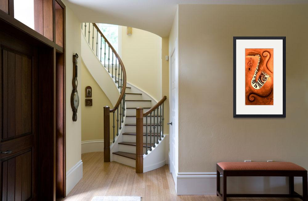 """""""Piano Keys In A Saxophone Orange Music In Motion&quot  by waynecantrell"""