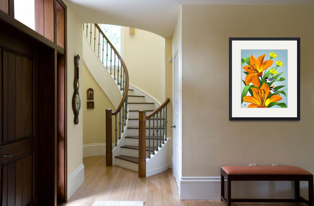 """""""Chickadees Among Lilies Art&quot  by waterart"""
