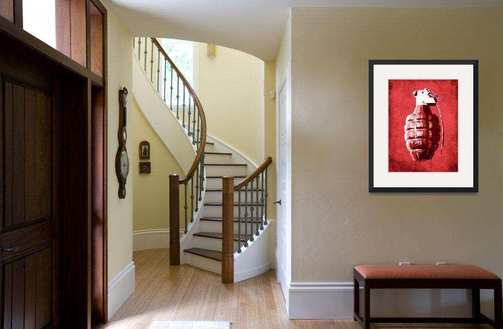 """Hand Grenade on Red&quot  (2010) by ModernArtPrints"