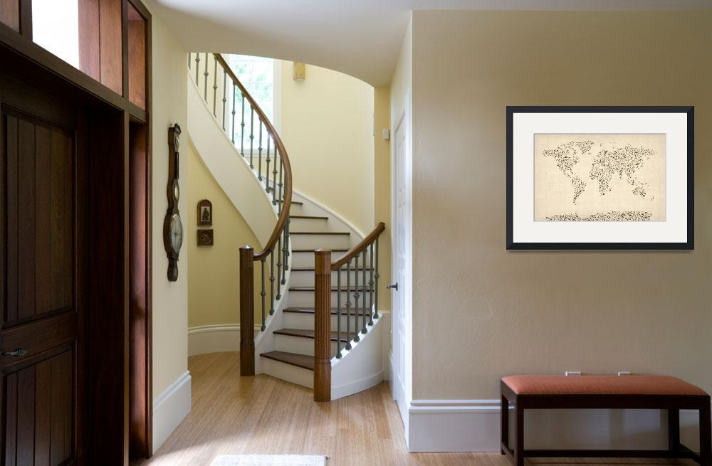 """""""Music Notes Map of the World Map&quot  (2012) by ModernArtPrints"""