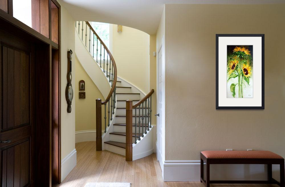"""""""TRIPLE SUNNY SUNFLOWERS&quot  (2010) by MBaldwinFineArt2006"""