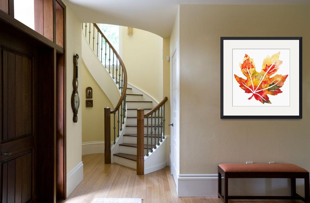 """Fall Maple Leaf Watercolor Silhouette&quot  (2017) by IrinaSztukowski"