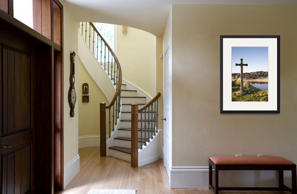 """""""Cross On A Hill Overlooking Town Alnmouth, Northu""""  by DesignPics"""