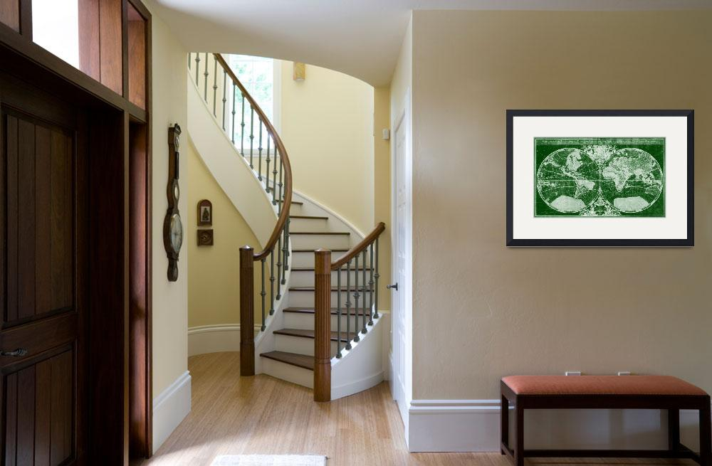 """""""World Map (1691) Green & White&quot  by Alleycatshirts"""