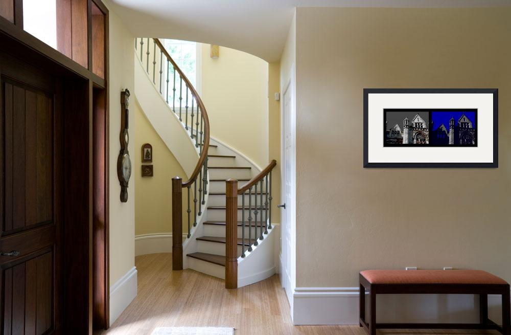 """""""Diptych of Turret Detail Cobb Hall""""  (2011) by LeonSarantosArtist"""