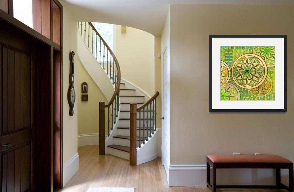 """""""Green and Yellow Mosaic Circles and Flowers&quot  (2013) by RubinoFineArt"""