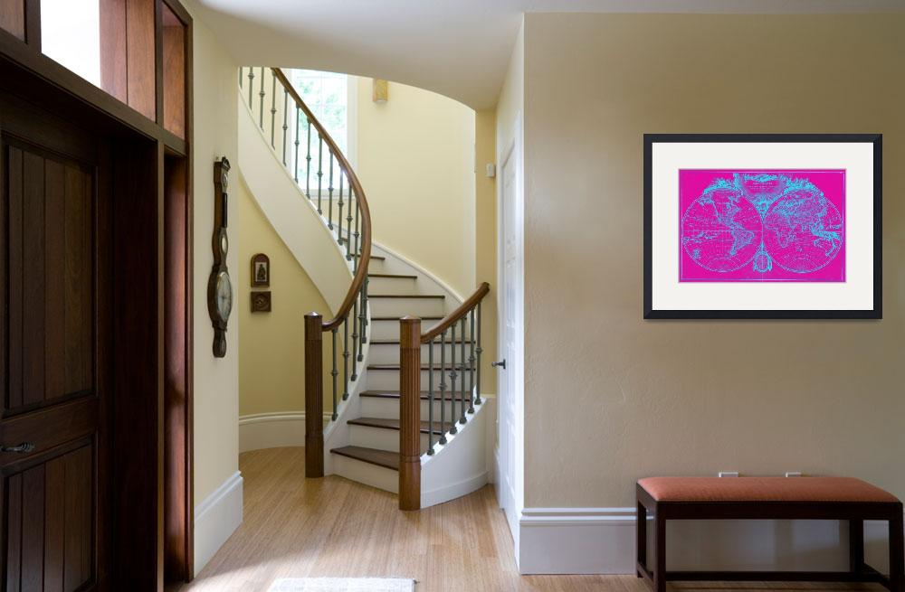 """""""World Map (1775) Pink & Blue""""  by Alleycatshirts"""