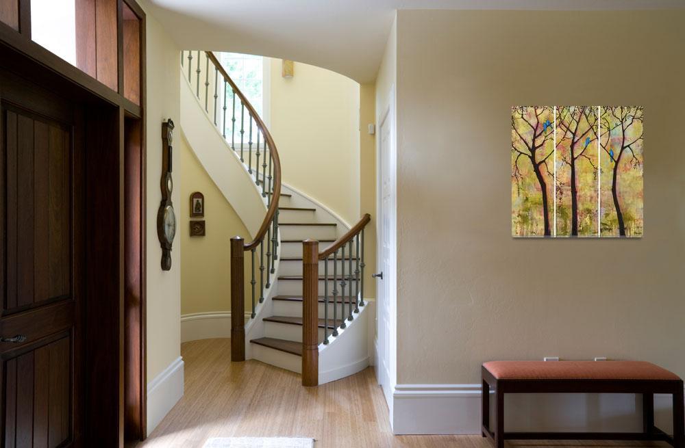 """Birds in Trees Triptych Art Painting""  (2008) by BlendaStudio"