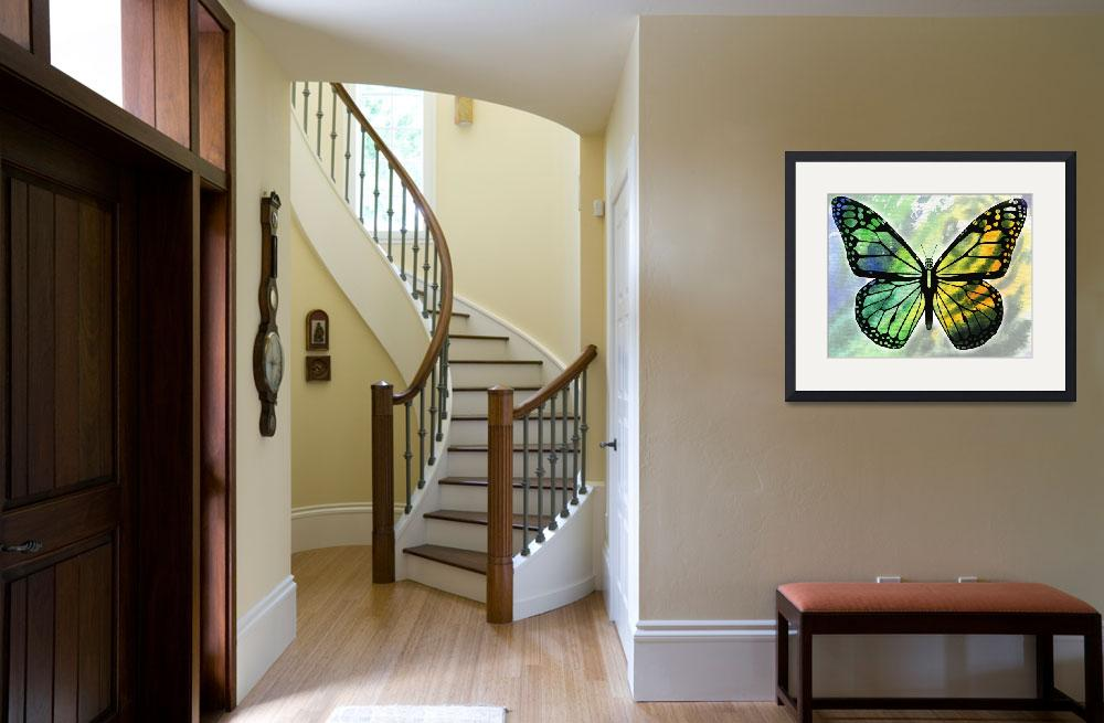 """""""Watercolor Butterfly In Green And Yellow&quot  (2017) by IrinaSztukowski"""