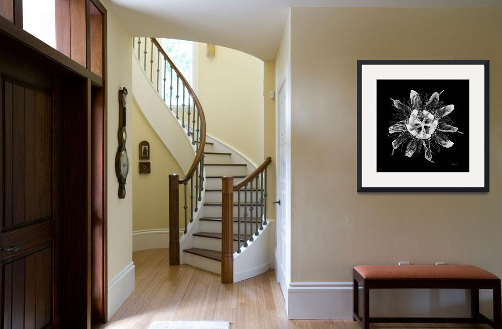 """""""Expressive Passion Flower in Black 50674K""""  (2018) by Ricardos"""