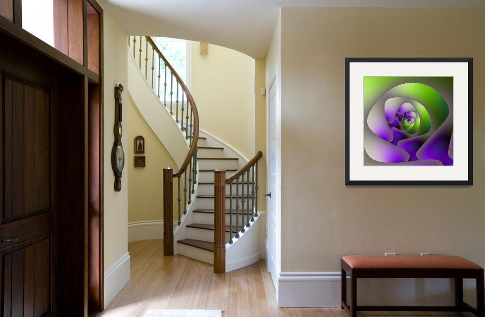 """""""Spiral Labyrinth in Green and Purple&quot  (2012) by Objowl"""