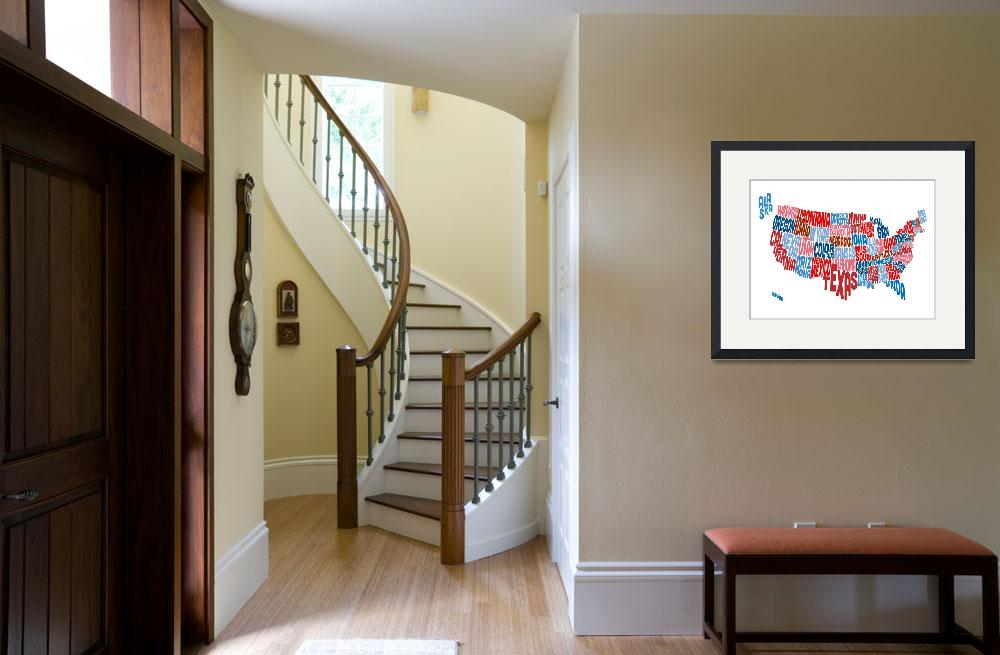 """""""United States Typography Text Map""""  (2014) by ModernArtPrints"""