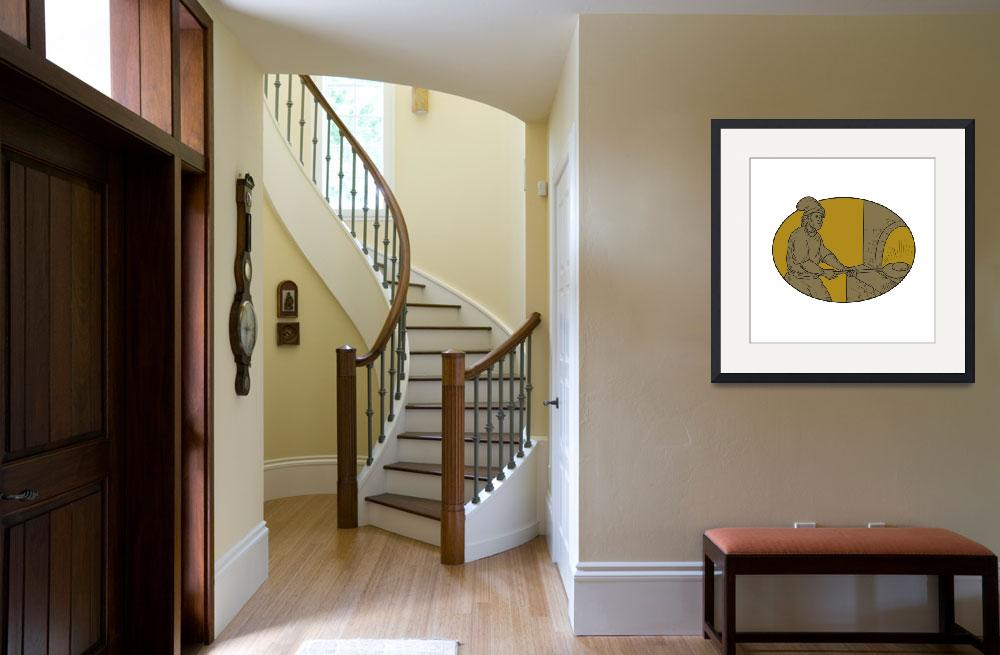 """""""Medieval Baker Bread Peel Wood Oven Oval Drawing&quot  (2017) by patrimonio"""