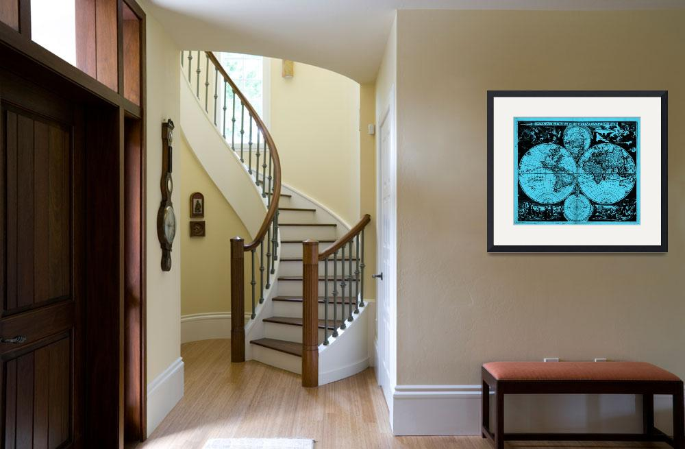 """""""Vintage Map of The World (1685) Black & Light Blue""""  by Alleycatshirts"""